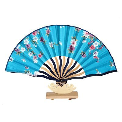 Portable bamboo Flora Style Folding Summer Hand Fan Teal blue T5N9