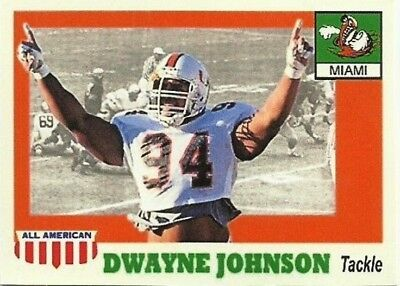 Dwayne Johnson The Rock College Miami Aceo Art Football Card Combined Shipping