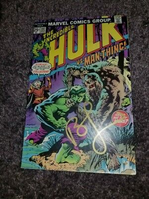 THE INCREDIBLE HULK #197 signed by LEN WEIN & BERNI WRIGHTSON (Man-Thing) 1976