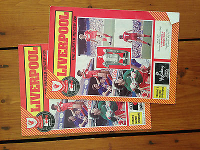 Liverpool FC The Anfield Review programmes from 1983 x 2