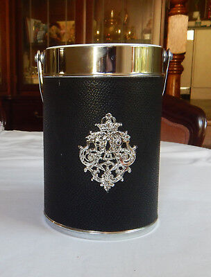 Vintage Black And Silver Ice Bucket Or Wine Bottle Cooler With Handle