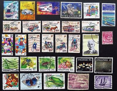 Singapore Stamp Collection Of 30 Different Used Stamps All Unhinged