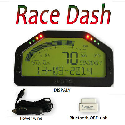 Dash Race Display - OBD2 Bluetooth, Dashboard LCD Screen; Gauge Rally Motec AIM