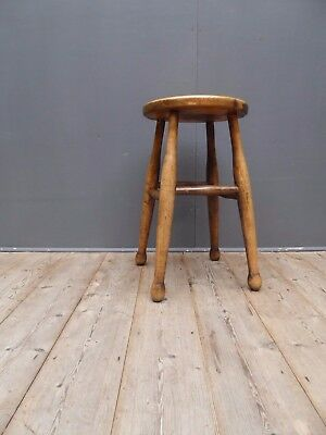 Antique Vintage Early 20th Century Turned Ash & Elm Utility Stool