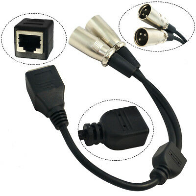 RJ45 Ethernet Female to Dual XLR Male 3 Pin Adapter Converter Short Cable Cord