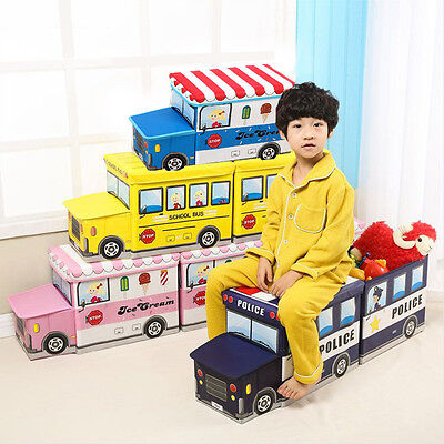 Kids Boys Girls Storage Seat Ottoman Stool Books Toys Chest Box Bus School Bus