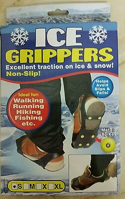 Non Slip Ice Treads Over Shoe Grippers Cleats Spikes Anti Slip On Snow UK 2 - 4