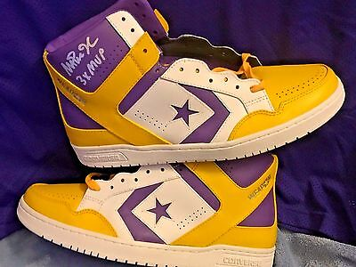 magic johnson signed converse weapon and signed purple lakers jersey