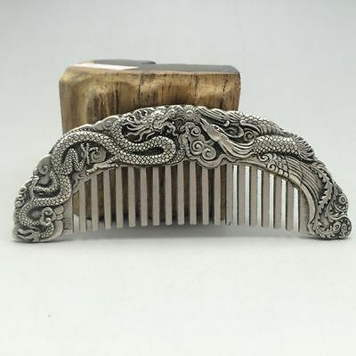 Chinese ancient Tibet silver hand-carved longfeng comb