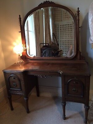 Dresser Walnut Timber Dressing Table With Mirror Vintage Shabby Chic Antique