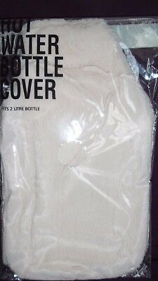 Plush 2 L cream hot water bottle cover Free Postage