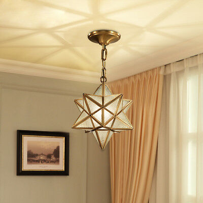 Antique Brass Star Clear/Crystal Glass Shade 1 Lamp Chain Hanging Pendant Lights