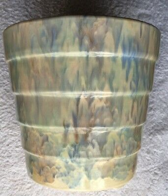 "16"" tall multicolour Carrig Ware Jardiniere in pastel swirl pattern."