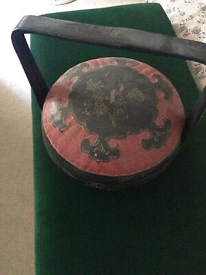 Chinese Asian Lacquer Wedding Basket Vintage Antique Collectors