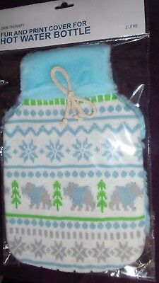 Knitted fairisle  and plush 2 L hot water bottle cover Free Postage