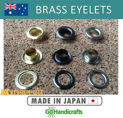 20/pk BRASS MATERIAL EYELETS WASHER NICKEL BLACK NICKEL GOLD LEATHERCRAFT JAPAN