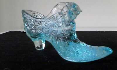 Vintage Fenton Aqua Color Daisy & Button Glass Shoe With Cats Head Trinket