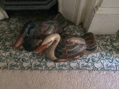 Ducks Lover Pair Timber Painted Asian Collectors Vintage, Decorative, Doorstop