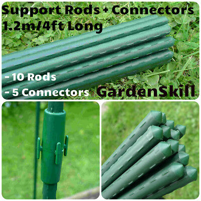 10 Green Plastic Covered Metal Garden Fencing Plant Support Stake Post Cane 1.2m
