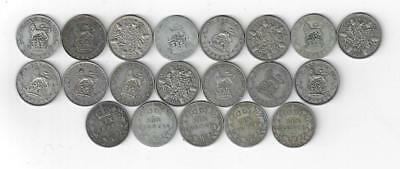 A selection of 20 silver 6d pieces . 5 are EV11 15 are GV ( 11 are pre 1920 ) .