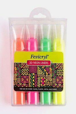 Fevicryl 3D Neon Liners – 20Ml Each (Pink, Yellow, Green And Orange)