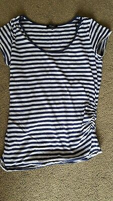 Newlook Navy and white stripe Maternity top size 14