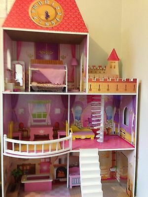 3 x Level Huge Princess Castle Girl's Doll House with Furnitures, Stable, Stairs