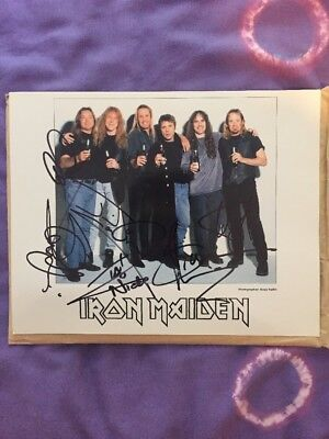 original iron maiden signed photo by all the band