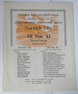1971/72 Norwich v All Star Xl. Bennett Test. Inc Ipswich Hull Palace Sheffield.