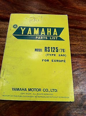 Yamaha RS125 1978 Parts List Book