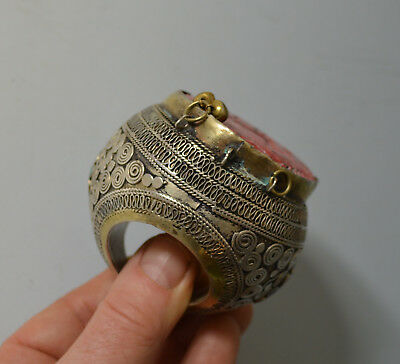 Large Antique silver central Asian afghan  ring pendant