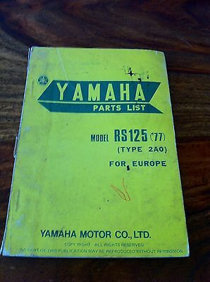 Yamaha RS125 1977 Parts List Book
