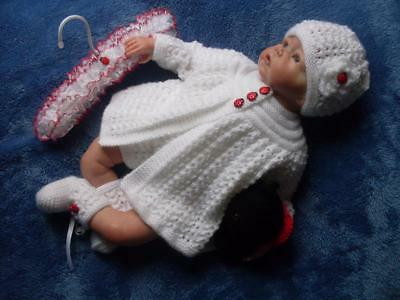 Gorgeous Hand Knitted Matinee Set, Toy & Hanger for Baby Girls or Reborn Dolls