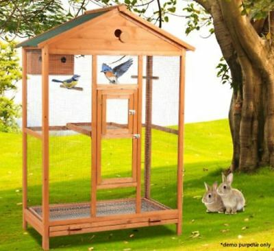 New Large Wooden Parrots Budgies Bird Cage with Double Perch & 2 Lockable Doors
