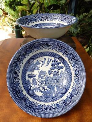 VINTAGE CHIC English Churchill BLUE WILLOW Soup Cereal DESSERT BOWL x 2 PERFECT