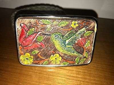 Vintage Belt - Lovely Painted Hummingbird Belt Buckle
