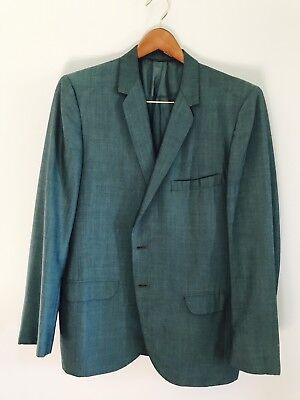 Two Vintage Shark Skin Suits 1960's MadMen Cocktail Blue Green Size 44 Jackets