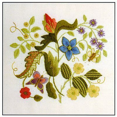 Elizabethan Tile 4- a crewel embroidery kit for beginners