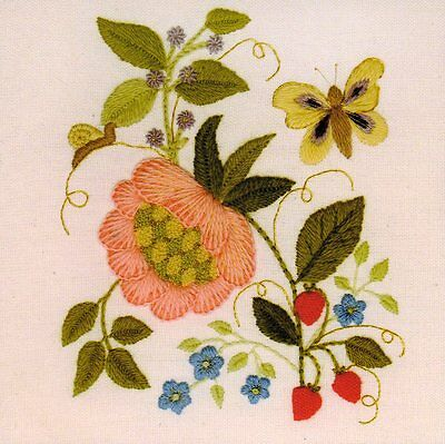 Elizabethan Tile 1- a crewel embroidery kit for beginners