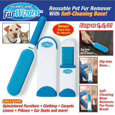 New Hurricane Fur Wizard Pet Fur & Lint Remover Travel Size hair Cleaner Brusher
