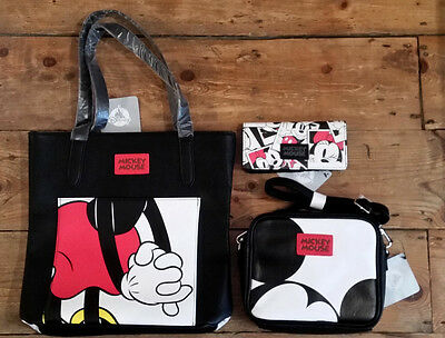 BNWT Official Disney Store Mickey Minnie mouse wallet shoulder cross body bag