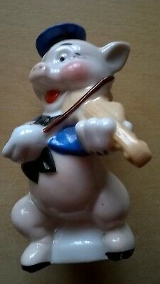 Vintage 1930's Disney 3 Little Pigs Fiddler Toothbrush Holder