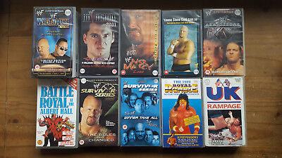 WWF Wrestling VHS Tapes, Job Lot, Bundle, 2000/2001, Steve Austin, The Rock.