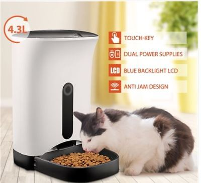 New 4.3L Automatic Digital Pet Cat Dog Feeder Food Bowl Dispenser Black & White