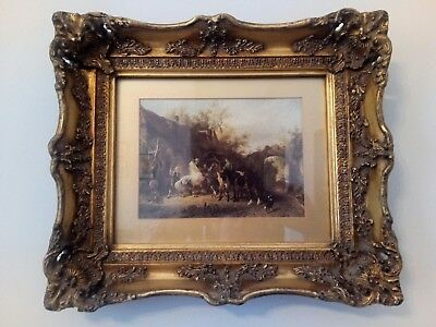 Antique ornate picture frame with Victorian rural scene