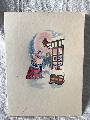 Genuine Vintage Christmas Card and Photo of Lady with Dog - inscribed