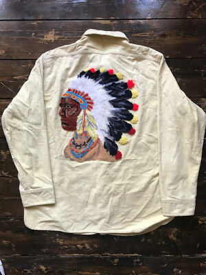 VTG VINTAGE 1960s 1970s AWESOME WOOLRICH WORK SHIRT WITH NATIVE INDIAN DESIGN