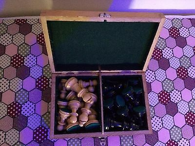 Vintage Chess Set (Complete) in Brown Wooden Box