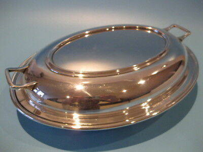 Lovely Vintage Art Deco Silver Plated Lidded Oval Tureen With Glass Liner