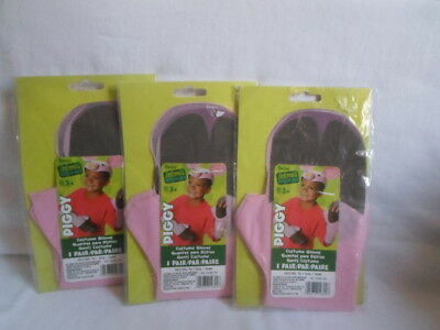 Lot of 3 Pair Pink Halloween Piggy Gloves by Darice